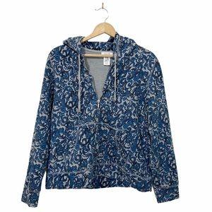 KATE HILL Paisley Print Hoodie Sweater Zip Up Sz L